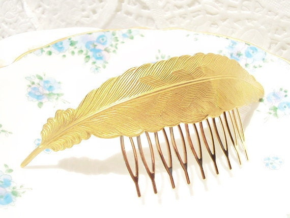 Gold Feather Hair Comb -  Large Gold Feather - Wedding Hair - Bridal - Woodland Collection - Whimsical - Nature