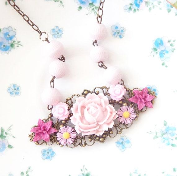 50% OFF - Heavenly Garden - Vintage Beaded Flower Cluster Necklace