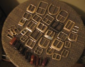 Used Belt Buckles - Silvertone - Lot of 27 with 17 loops