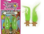 Vintage Treasure Troll Earrings Jewelry GREEN Pair
