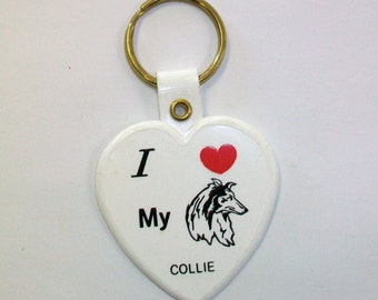 Vintage I Love My Collie Keychain DEADSTOCK