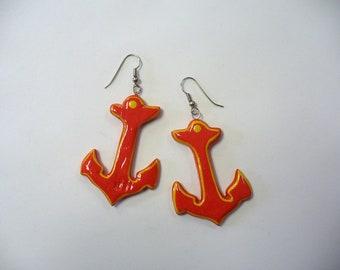 Vintage Orange/Red Wooden Anchor Earrings DEADSTOCK