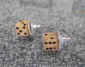 Handmade Vintage Carved Bone Dice Post Earrings 1/2 inch REAL