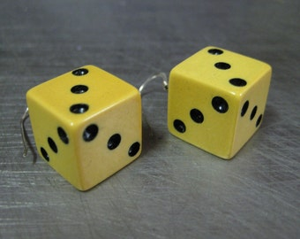 SALE Handmade Vintage Bakelite Loaded Dice Earrings 5/8 inch
