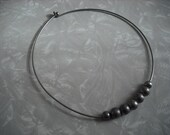 Vintage Necklace Modern Minimalist Silver Metal Choker