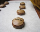8 Tiny Wood Buttons- in reclaimed Sassafras Wood- Knitting, Sewing and Craft Buttons- Handmade Wooden Buttons