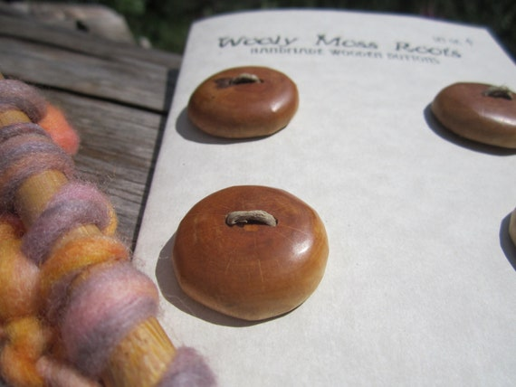4 Wood Buttons- Birch Wood- Knitting, Sewing, Craft Buttons