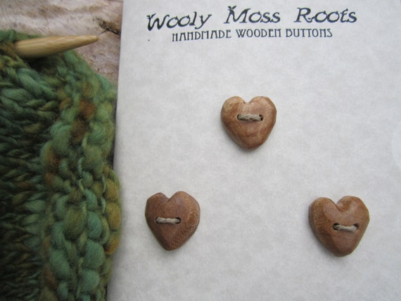 3 Maple Heart Buttons- Reclaimed Wood Buttons- Wooden Button- Knitting, Sewing, Craft Buttons