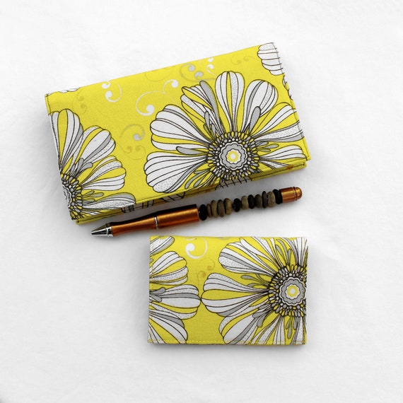 Yellow Checkbook Cover and Card Case Set - Eclipse