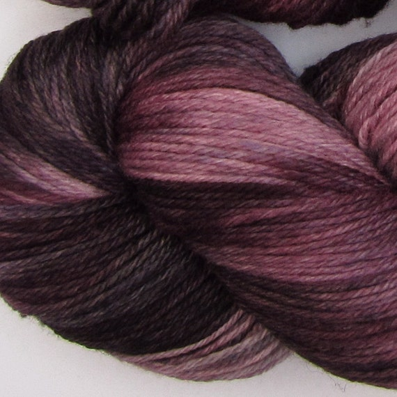 Jackalope hand dyed sock yarn fingering weight, 3ply superwash with nylon, 100g - Black Cherry 3