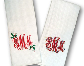 Monogrammed Holiday Kitchen Towels - Set of Two