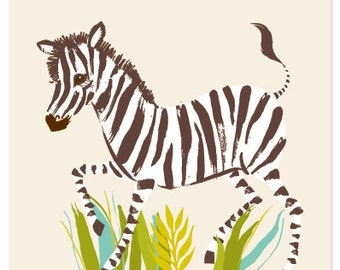 Zebra - safari, zoo, nursery wall decor for children