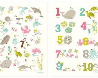 Ocean wall art for kids, alphabet, numbers - Nursery wall decor, ABC, 123