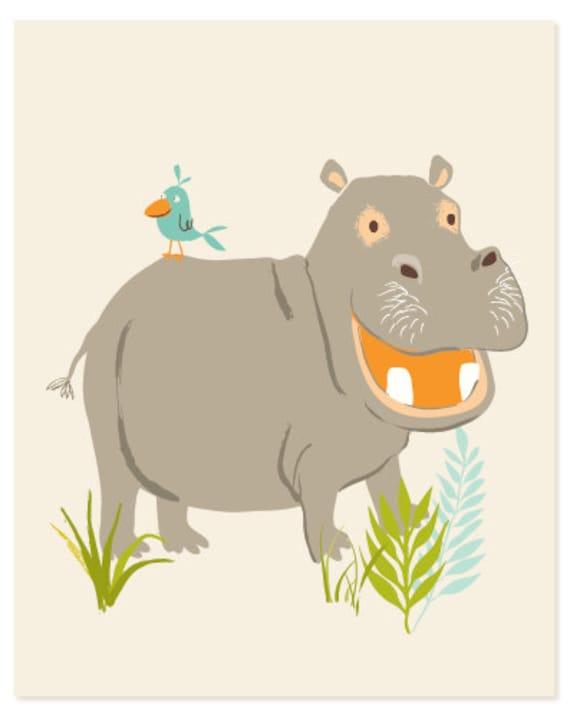 Hippo - safari,zoo, hippopotamus, wall art - nursery wall decor for children