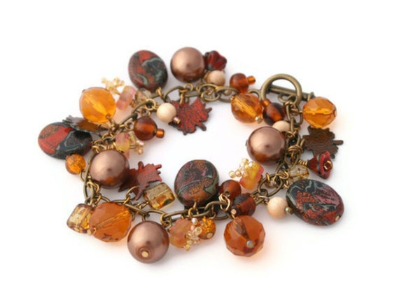 Amber Gold Charm Bracelet  - Copper Rustic Brown Burnt Orange - Autumn Leaves Fall  - Bespoke Polymer ClayDesign