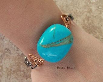 Chunky Turquoise Bracelet with Copper Triangular Spirals and Gunmetal Chain Unisex Handmade Bracelet