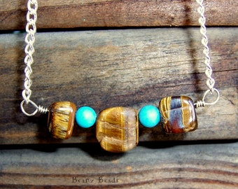 Tiger Eye and Turquoise Necklace Southwestern Bar and Silver Chain