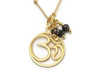 Yoga Jewelry | OM  Necklace | Smokey Quartz Gemstones | Om Jewelry | Om Charm | Gold Necklace |  Yoga Inspired | Ohm, Aum, OM, | Sanskrit