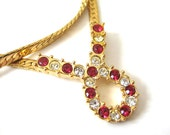 Vintage 80's Avon // Red and Clear Rhinestone Sailor's Knot Necklace