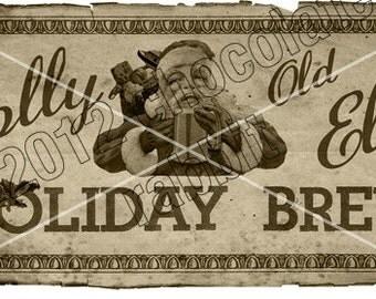 Vintage Christmas Tag Label Printable Holiday Brew Prim Digital Download Collage Sheet Graphics Homemade Cards Scrapbook
