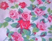 Wilendur Princess Roses Pink and Red Cotton Fabric 16 X 16 Inches