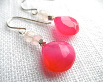 Pink Chalcedony earrings - rose quartz - pink earrings - L A U R E N 175