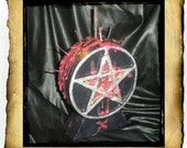 Large Black Pentacle Candle - Painted Dressed for Extreme Protection Return to Sender Spells, Coffin nails, rose thorns