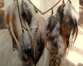 Feather Necklace - Natural Brown Feather Statement Necklace, Feather Fringe Necklace - Comanche