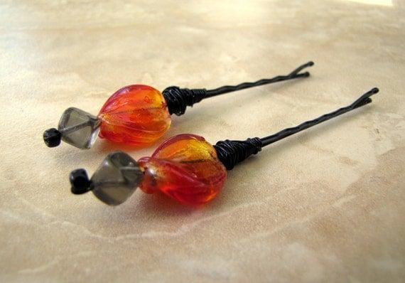 Beaded Bobby Pins, Set of 2 - Red and Gray Glass, Colorful Hair Pins - Smoke and Fire (Ready to Ship)