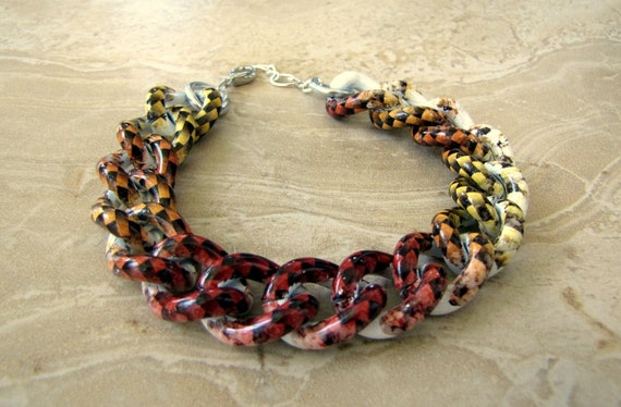 Chunky Chain Bracelet - Colorful Checkerboard Print Bracelet - Checkmate (Ready to Ship)