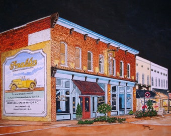 Epic Chop House Print from the Original Watercolor by Michael Joe Moore of the Epic Chop House in Mooresville North Carolina