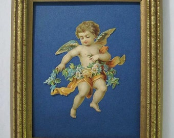 Valentines Day Gift Vintage Valentine Cupid Framed 1890's Antique Victorian Angel Print Flower Garland Peacock Blue Die Cut