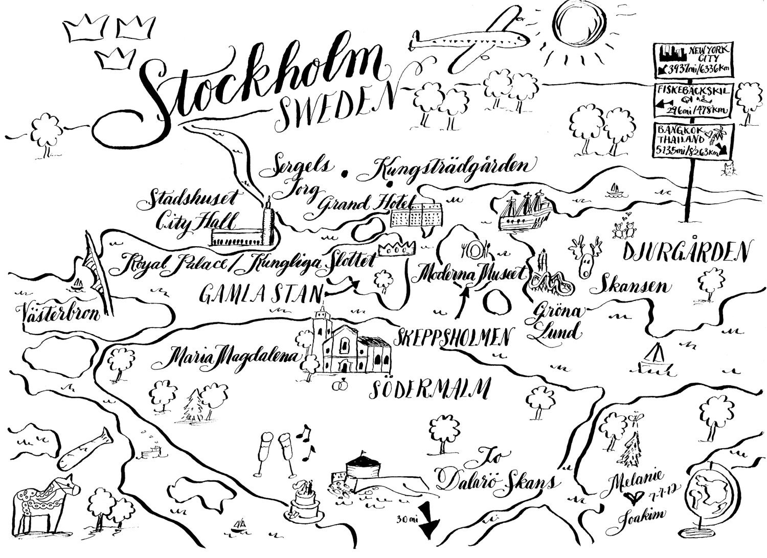 Calligraphy wedding maps for weddings and special events black