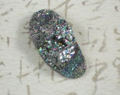 Oval Crystal Drusy Purple & Teal Green Cabochon Titanium Coated Druzy (D2160)