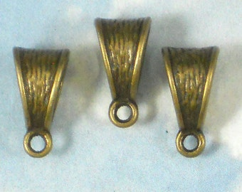 12 Hanger Bails Bark Bronze Tone Pendant Enhancer Slider Bail (P978)