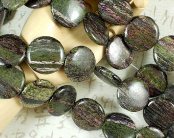 Last 5 Green & Pink Rose Micanite Beads 25mm Round Lentil Gemstone Mica and Pyrite  (5058)