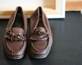 Bass Leather Loafers Moccasins 70s Brown 7 SALE