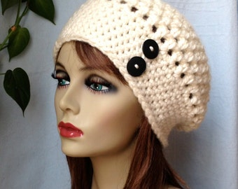 Crochet Slouchy Beret, Womens Hat, Off White Cream, Pick Your Color, Soft, Chunky, Warm, Teens, Birthday Gifts for Her JE505BTBU2