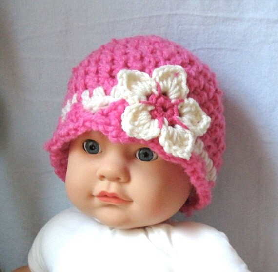 PINK Newborn, Child, Girl, Baby Hat, Off White, Flower BEANIE, Baby Gifts, Photo Prop, JE600BF2