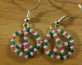 Peace Earrings - Peace Symbol Earrings - Beaded Earrings - Beaded Peace Earrings - Custom Color Earrings - Custom Beaded Peace Earrings