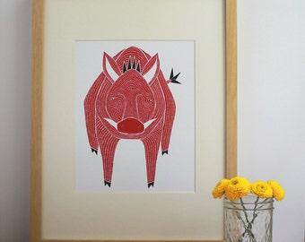 Razorback Print, Razorback Art Print, Razorback Illustration, Razorback Artwork, Razorback Decor, Razorback Home Decor, Pig Print