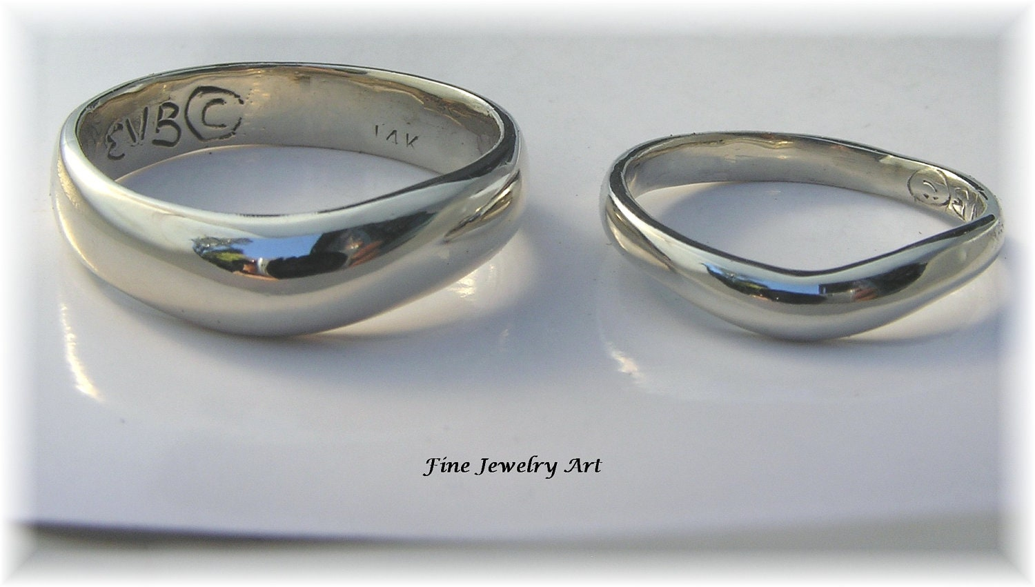 matching wedding band ring set unique handmade 14k white