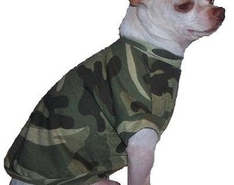 Camo Dog Shirt - 4 Sizes Available - XXXS - XXS - XS - Small  Returns Accepted