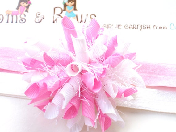Reserved White and Bubble Gum Pink Boutique Baby Girl Korker Hair Bow Shimmery Elastic Headband