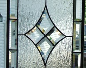 Diamond Beveled Stained Glass Panel , Clear Textured Glass 12.5 x 23.5 inches Reduced 10% Great Holiday Decor