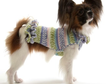 Dog Sweater Dress with ruffles