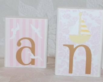Personalized Name Blocks . Cape Cod . Beach . Sea . Gianna . Pink and Beige