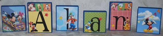 LARGE Baby Name Blocks . Disney Mickey Mouse Birthday Party Decoration . Alan