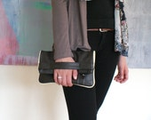 SALE, Three-way leather bag, leather pouch, messenger bag, folded leather clutch in dark grey leather, autumn winter fashion