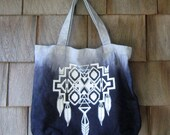 DIp-Dyed/Ombre Printed Tote Bag- Navajo/Southwest Inspired Design